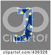 Royalty Free RF Clipart Illustration Of A 3d Blue Starry Symbol Capital Letter J
