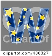 3d Blue Starry Symbol Capital Letter W