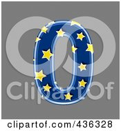 Royalty Free RF Clipart Illustration Of A 3d Blue Starry Symbol Number 0