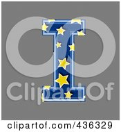 3d Blue Starry Symbol Capital Letter I