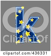 Royalty Free RF Clipart Illustration Of A 3d Blue Starry Symbol Lowercase Letter K