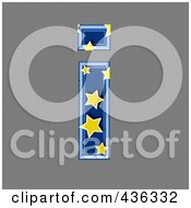 Royalty Free RF Clipart Illustration Of A 3d Blue Starry Symbol Lowercase Letter I
