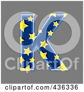 Royalty Free RF Clipart Illustration Of A 3d Blue Starry Symbol Capital Letter K
