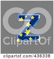 Royalty Free RF Clipart Illustration Of A 3d Blue Starry Symbol Lowercase Letter Z