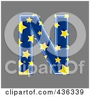 Royalty Free RF Clipart Illustration Of A 3d Blue Starry Symbol Capital Letter N