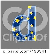 Royalty Free RF Clipart Illustration Of A 3d Blue Starry Symbol Lowercase Letter D