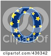 Royalty Free RF Clipart Illustration Of A 3d Blue Starry Symbol Capital Letter O