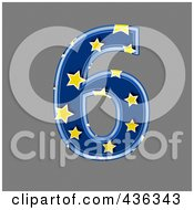 Royalty Free RF Clipart Illustration Of A 3d Blue Starry Symbol Number 6