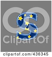 Royalty Free RF Clipart Illustration Of A 3d Blue Starry Symbol Lowercase Letter S