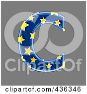 Royalty Free RF Clipart Illustration Of A 3d Blue Starry Symbol Capital Letter C