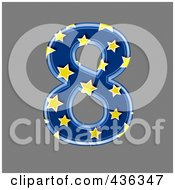 Royalty Free RF Clipart Illustration Of A 3d Blue Starry Symbol Number 8