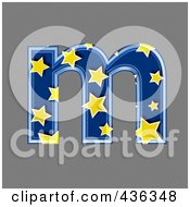 Royalty Free RF Clipart Illustration Of A 3d Blue Starry Symbol Lowercase Letter M