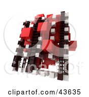 Clipart Illustration Of A Red White And Black Cubic 3d Structure by Frank Boston