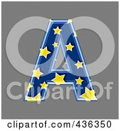 Royalty Free RF Clipart Illustration Of A 3d Blue Starry Symbol Capital Letter A