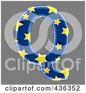 Royalty Free RF Clipart Illustration Of A 3d Blue Starry Symbol Capital Letter Q
