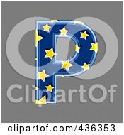 Royalty Free RF Clipart Illustration Of A 3d Blue Starry Symbol Capital Letter P
