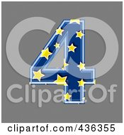 Royalty Free RF Clipart Illustration Of A 3d Blue Starry Symbol Number 4