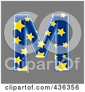 Royalty Free RF Clipart Illustration Of A 3d Blue Starry Symbol Capital Letter M