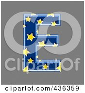 Royalty Free RF Clipart Illustration Of A 3d Blue Starry Symbol Capital Letter E
