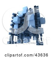 Clipart Illustration Of A 3d Structure Built Of Light And Dark Blue Cubes by Frank Boston