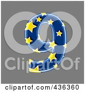 Royalty Free RF Clipart Illustration Of A 3d Blue Starry Symbol Number 9