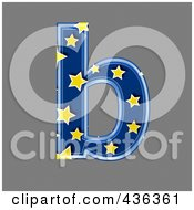 Royalty Free RF Clipart Illustration Of A 3d Blue Starry Symbol Lowercase Letter B