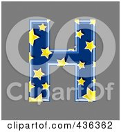 Royalty Free RF Clipart Illustration Of A 3d Blue Starry Symbol Capital Letter H