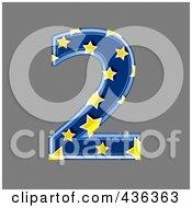 3d Blue Starry Symbol Number 2
