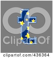 Royalty Free RF Clipart Illustration Of A 3d Blue Starry Symbol Lowercase Letter T