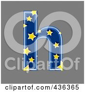 Royalty Free RF Clipart Illustration Of A 3d Blue Starry Symbol Lowercase Letter H