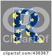 Royalty Free RF Clipart Illustration Of A 3d Blue Starry Symbol Capital Letter R