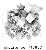 Clipart Illustration Of A 3d Structure Composed Of White Cubes by Frank Boston