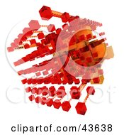 Clipart Illustration Of A 3d Structure Composed Of Red And Orange Cubes by Frank Boston