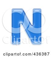 Royalty Free RF Clipart Illustration Of A 3d Blue Symbol Capital Letter N by chrisroll