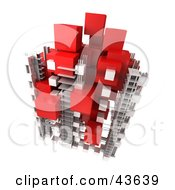 Clipart Illustration Of A 3d Structure Composed Of White And Red Cubes by Frank Boston