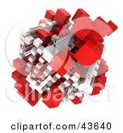Clipart Illustration Of A White And Red Cubic 3d Structure