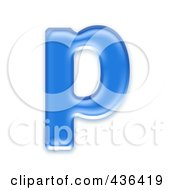 Royalty Free RF Clipart Illustration Of A 3d Blue Symbol Lowercase Letter P by chrisroll