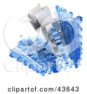 Clipart Illustration Of A 3d Structure Composed Of White And Blue Cubes