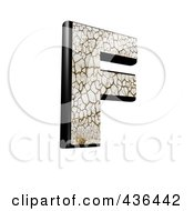Royalty Free RF Clipart Illustration Of A 3d Cracked Earth Symbol Capital Letter F by chrisroll