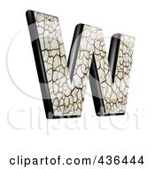 3d Cracked Earth Symbol Capital Letter W