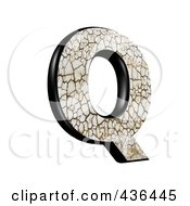 Royalty Free RF Clipart Illustration Of A 3d Cracked Earth Symbol Capital Letter Q by chrisroll