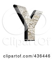 Royalty Free RF Clipart Illustration Of A 3d Cracked Earth Symbol Capital Letter Y by chrisroll