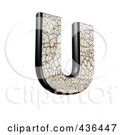 Royalty Free RF Clipart Illustration Of A 3d Cracked Earth Symbol Capital Letter U by chrisroll