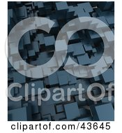 Clipart Illustration Of A Blue 3d Background Of Cubes