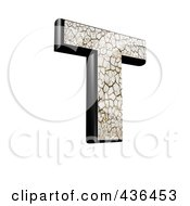 3d Cracked Earth Symbol Capital Letter T