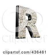 Royalty Free RF Clipart Illustration Of A 3d Cracked Earth Symbol Capital Letter R by chrisroll