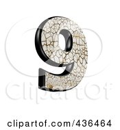 3d Cracked Earth Symbol Number 9