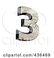 Royalty Free RF Clipart Illustration Of A 3d Cracked Earth Symbol Number 3