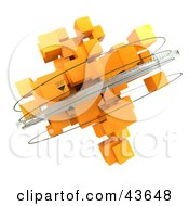 Clipart Illustration Of A Mass Of Orange 3d Cubes With Rings