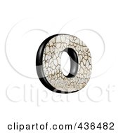 3d Cracked Earth Symbol Lowercase Letter O